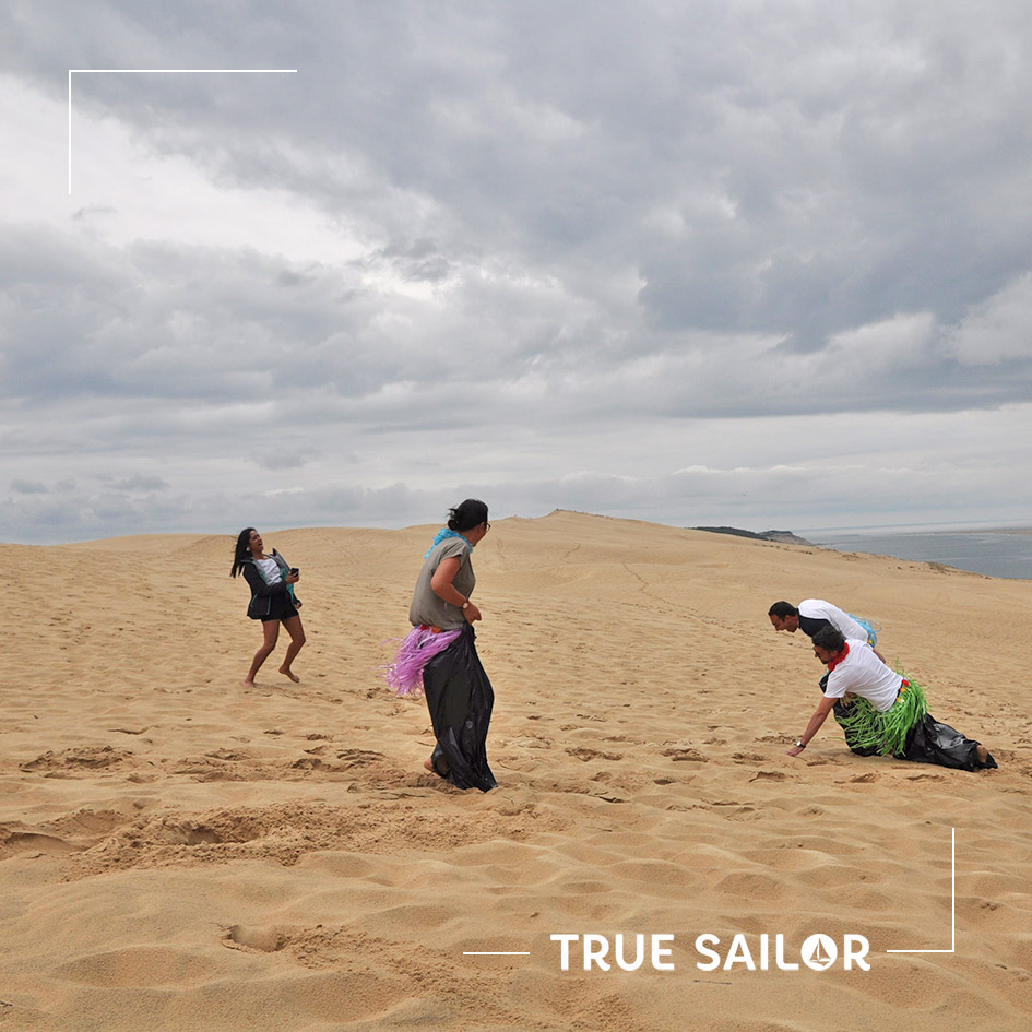 Challenge d'équipe team building Dune du Pilat