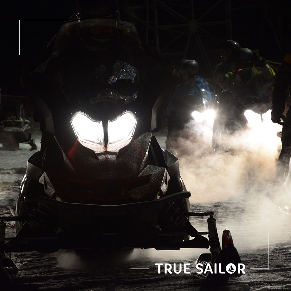 Activité motoneige de nuit team building